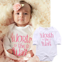Newborn Kids Baby clothing cotton letter print Boy Girl Infant Rompers Jumpsuit long sleeve baby clothes