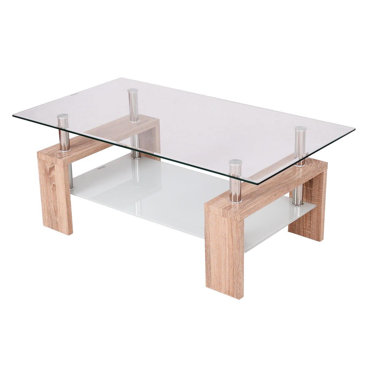 Giantex Rectangular Tempered Glass Coffee Table With Shelf Modern - Rectangular glass side table