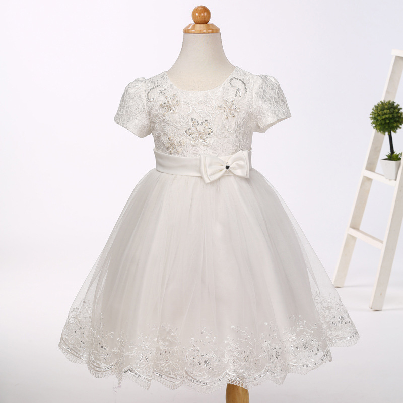 Luxury Little   Girls   Pageant   Dresses   Princcess Short White   Flower     Girls     Dresses   vestido de daminha 2019