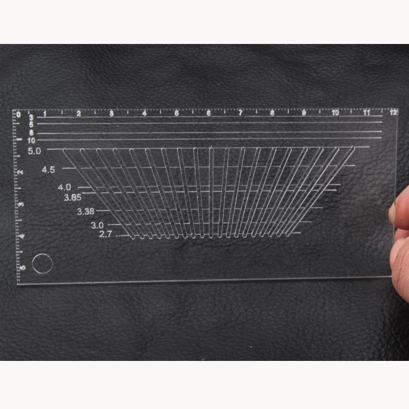 1pc Multifunctional Auxiliary Acrylic Ruler Punch Positioning Tool For DIY Leather Craft Punching Positioning Ruler 12x5cm
