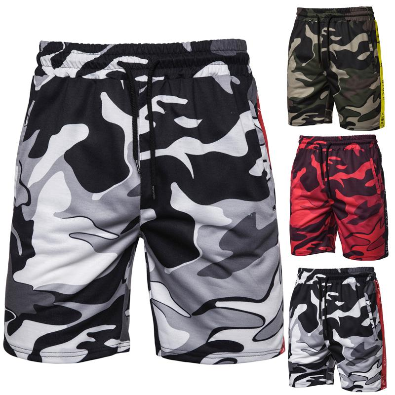Camouflage Men 39 s Shorts Side color Strip print Shorts Men 39 s clothing Red Army green Black Sports Fitness Outwear New in Board Shorts from Men 39 s Clothing