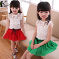 Girls' Sets baby girls short sleeves sets chiffon short T-shirt + short skirt pants 2pcs suit Girls fashion Ballet skirt outfit