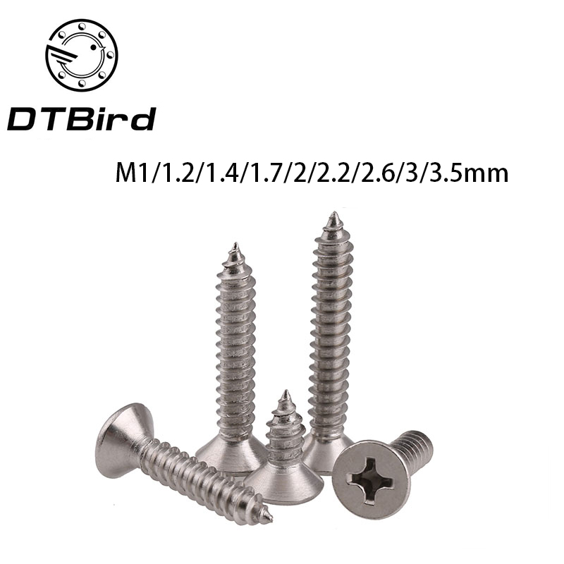 Free shipping GB846 304 stainless steel Flat head self-tapping M1 M1.2 M1.4 M1.7 M2 M2.2 M2.6 M3 M3.5 KA screws standard 2017 self tapping screws countersunk head flat computer screws m1 m1 2 m1 4 m1 7 m2 m2 3 m2 6 small philips black steel pack 1000