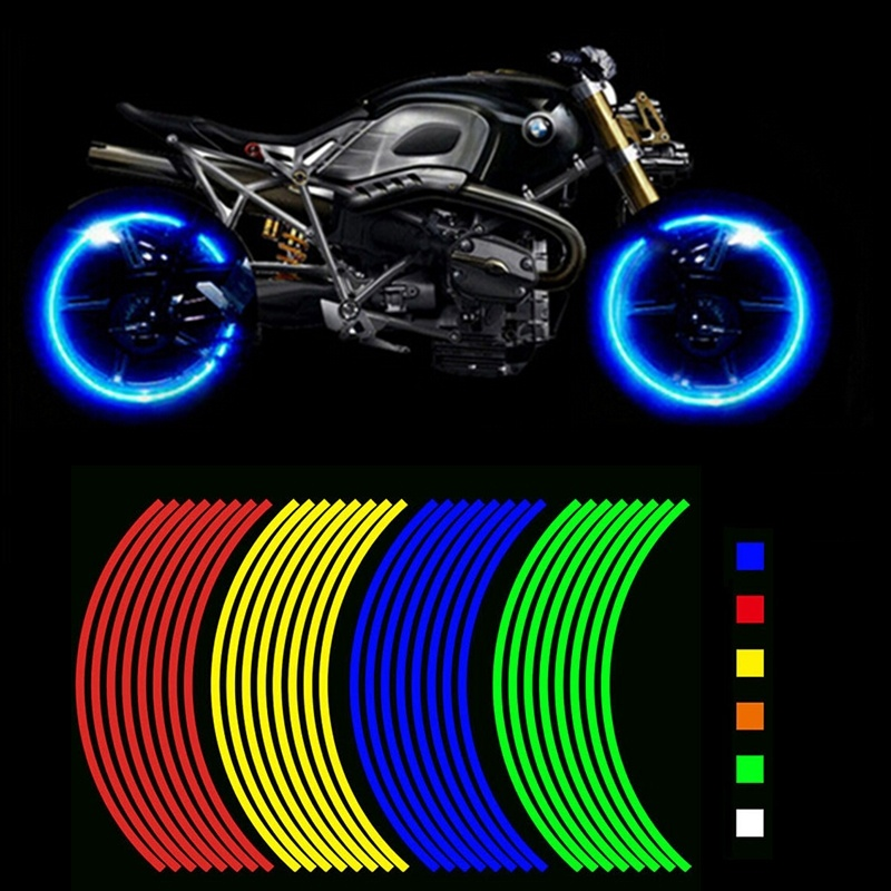 Strong Sticky 16 Strips Reflective Motocross Bike Motor Sticker For 14' 18' Motorcycle Auto Wheel Rim Moto Car Styling Sticker