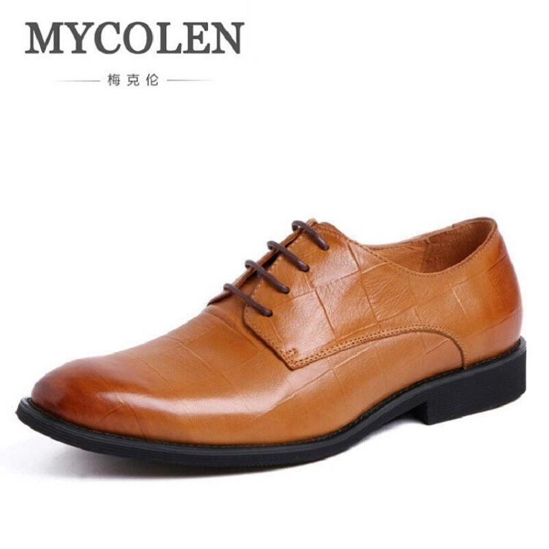 MYCOLEN New Brand Mens Oxfords Leather Formal Shoe Red/Brown/Black Man Dress Shoes Round Toe Vintage Italian Men Flats hot sale luxury brand men classic oxfords italian mens leather dress shoes new men formal shoes black white patch flowers 39 46