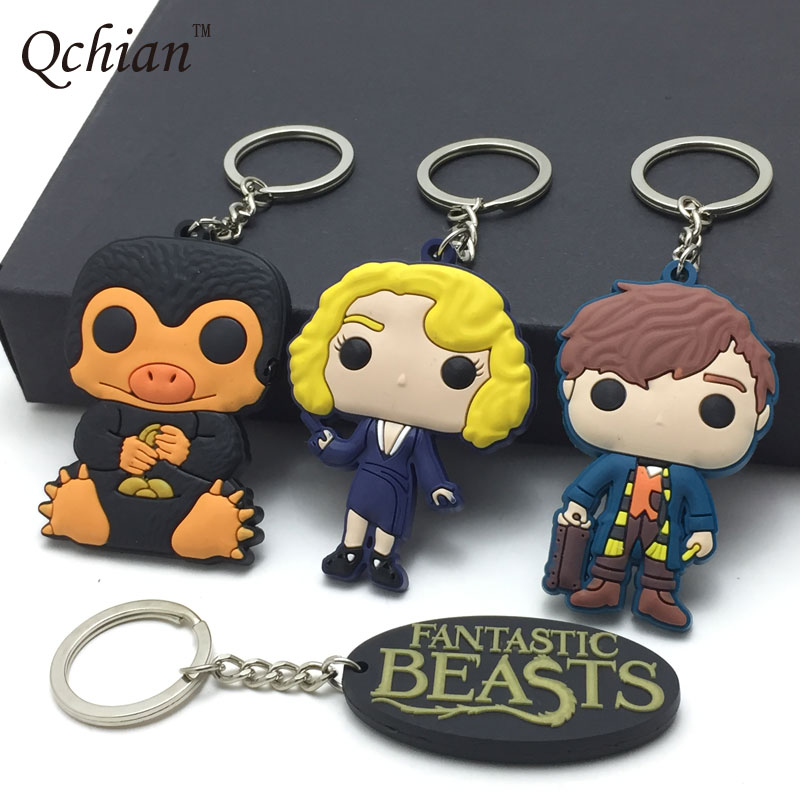 New Movie Fantastic Beasts Keychain Fantastic Beasts and Where to Find Them Pendant Queenie Key Chians Ring Niffler rowling j fantastic beasts and where to find them the original screenplay