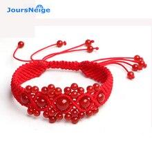 Jursneige اليدوية الحيوان سنة الأحمر سلسلة حبل الحبل الأحمر كريستال محظوظ سوار للنساء أساور مجوهرات اكسسوارات