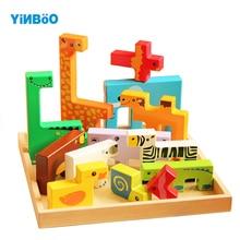 Деревянные 3D пазлы, деревянные игрушки для детей, Мультяшные пазлы с животными, развивающие игрушки для детей