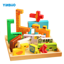 Wooden 3D Puzzle Jigsaw Toys For Children Cartoon Animal Puzzles Intelligence Kids Educational Toy