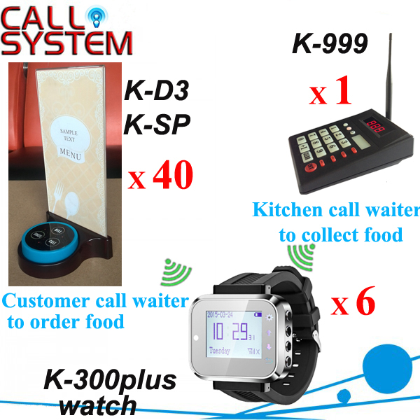 Wireless service waiter remote call bell system for cafe restaurant 1 kitchen keyboard 6 watches 40 buzzers with holder base one set wireless system waiter caller bell service 1 watch wrist pager with 5pcs table customer button ce passed