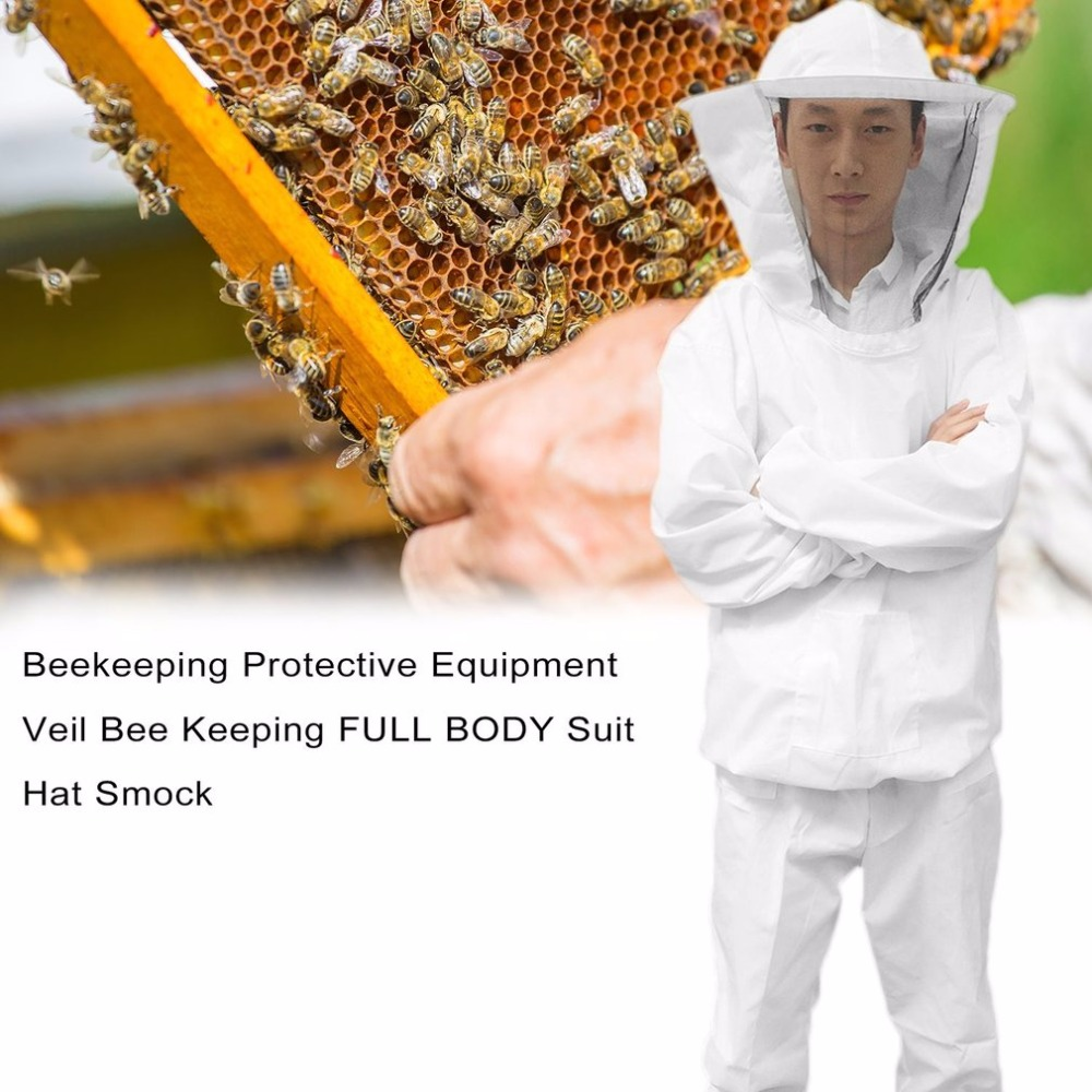 Beekeeping Protective Equipment Veil Bee Keeping FULL BODY Suit Hat Smock S-XXL White Cotton Beekeeping Jacket Utility & Safety beekeeper beekeeping protective veil suit smock bee hat gloves full body set new safety clothing