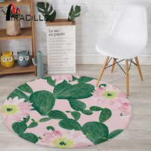 цены Miracille Cactus Potted Printing Coral Velvet Round Floor Mats Living Room Table Carpets Colorful Anti-Slip Bedroom Decor Rug