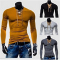 2017 spring men's  Suede Patchwork casual T shirt tide male fashion tight long-sleeved shirt Slim deep v neck t shirt FW364