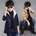 Дети Мальчики Шерстяные Пальто Новый Корейский Утолщение Куртка Детская Одежда Красный Хаки Темно-Синий