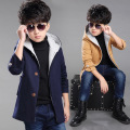 Kids Boys Woolen Coat New Korean Thickening Jacket Children Clothing Red Khaki Dark Blue