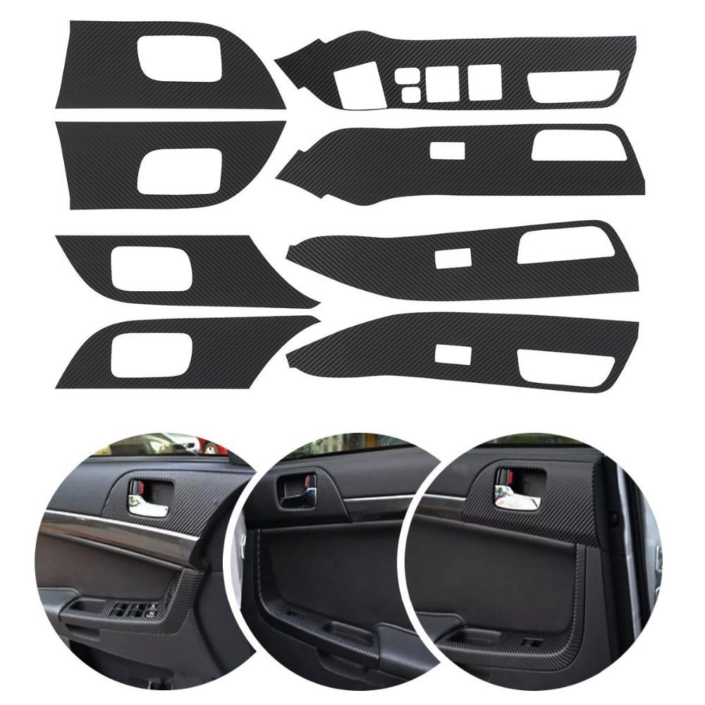 8Pcs/set Car 4 Door Armrest Handle Carbon Fiber Stickers Protection Decoration For Mitsubishi Lancer EX LHD Car Styling