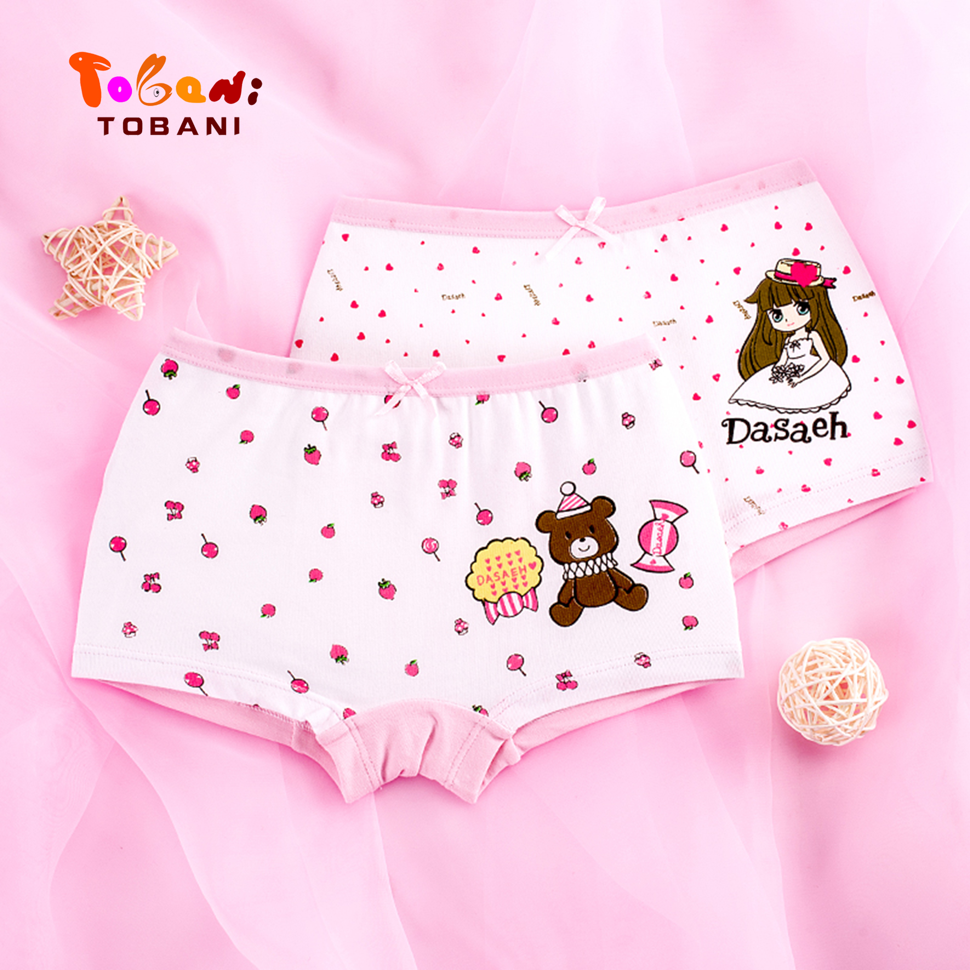 Buy girls underwear large children panties cotton trousers girl student four angle baby shorts Tobani 2pcs