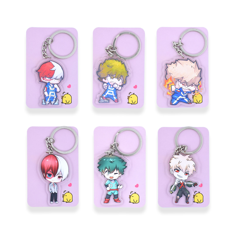 6 styles My Hero Academia Key  Double Sided Chians Chibi Cartoon Keyrings Cute Anime Acrylic Keychain Accessories PCB35-40