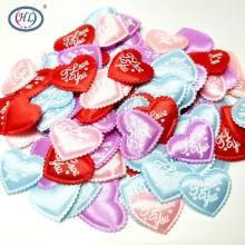 HL 50pcs/lot  Mix colors Padded Felt Love Heart Appliques Wedding Decoration DIY Sewing Crafts 35MM