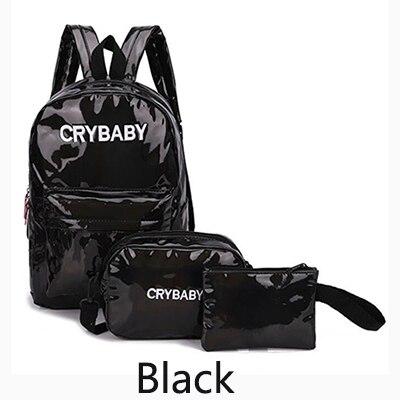 HTB16QzXbBKw3KVjSZFOq6yrDVXaZ Yogodlns 2019 Holographic Laser Backpack Embroidered Crybaby Letter Hologram Backpack set School Bag +shoulder bag +penbag 3pcs