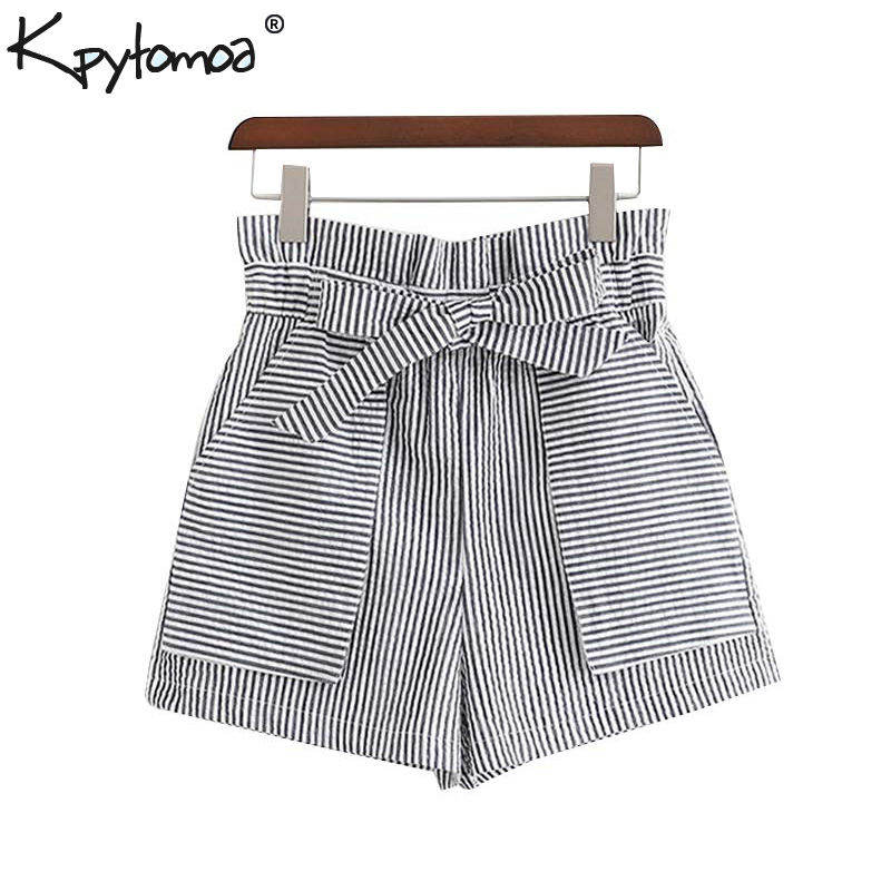 Vintage Stylish Striped Bow Tie Sashes Shorts Women 2019 Fashion High Elastic Waist Pockets Short Pants Casual Pantalones Mujer-in Shorts from Women's Clothing on AliExpress - 11.11_Double 11_Singles' Day 1