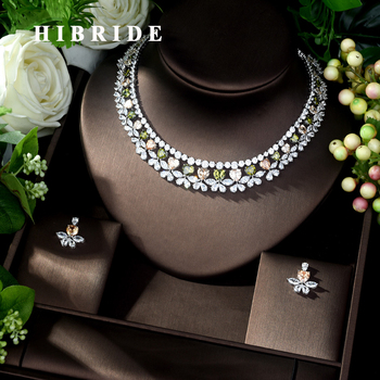HIBRIDE Multi-Color Love Design Pendants Bridal Women Jewelry Sets Girls Earring Necklace Accessories Mujer Moda N-1038