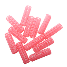 Top Sale 12 Pcs Pink Plastic DIY Hair Styling Curlers Clips