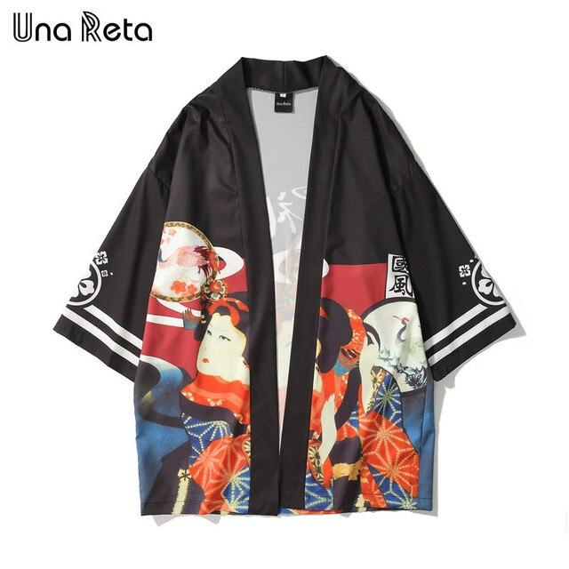 Una Reta Japanese style Printed Kimono Casual Cardigan Jackets Fashion Men 2018 New Mens Hip-hop Style Jacket Coats Streetwear  1
