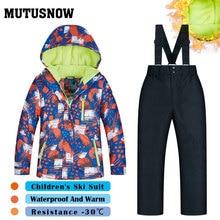 Ski Suit Boys Girls Children's Brands High Quality Skiwear Windproof Waterproof Snow Warm Child Winter Thick Snowboard Suit HXQ