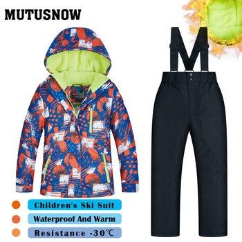 8741bdfd90cf Traje de esquí traje de muchachos de las muchachas de los niños de las  marcas de alta calidad ropa de esquí a prueba de viento impermeable nieve  ...