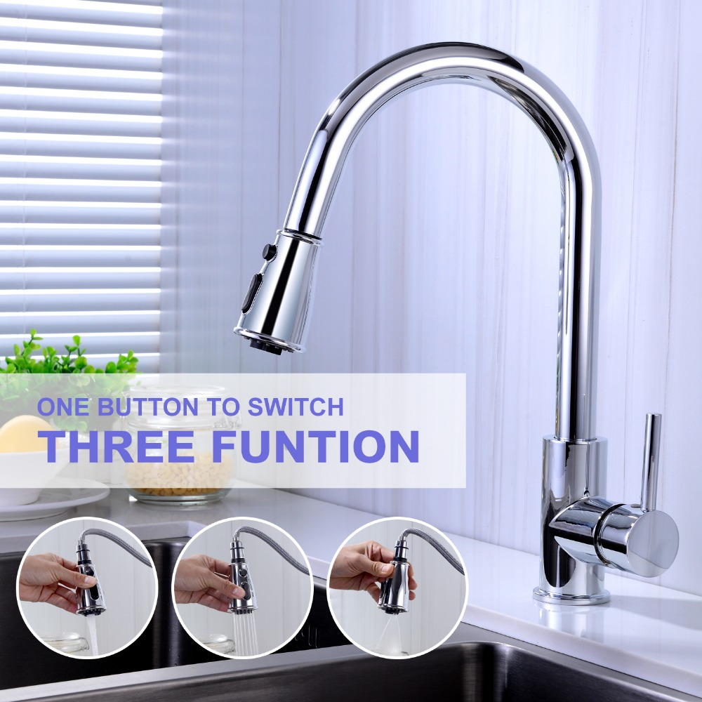 HPB Kitchen Faucet Pull out Kitchen Faucets 3 function Tap for Sink Single Handle Deck Mounted Hot And Cold Water HP4180