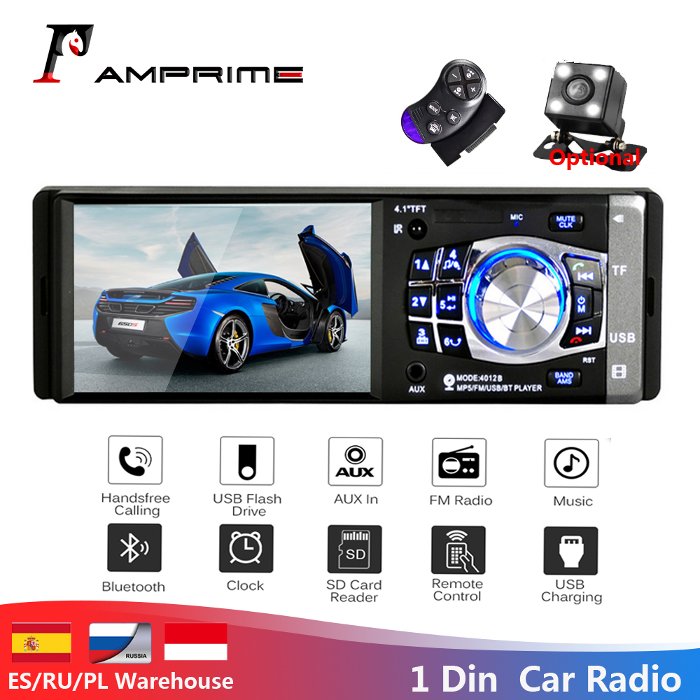AMPrime 1 Din 4.1 Car Radio Autoradio Stereo FM Bluetooth USB AUX FM Radio MP3 Audio Player Support Camera Remote Control 4012B image