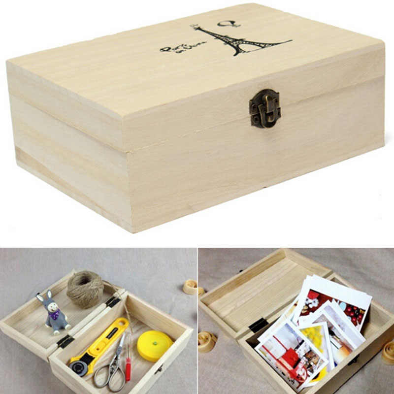 2019 Retro Home Storage Box Natural Wooden With Lid Golden Lock Postcard Home Organizer Handmade Craft Jewelry Case Wedding Gift