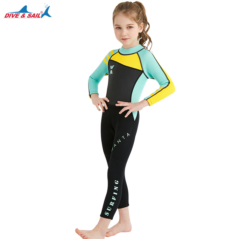 b8994dd4abd Dive & Sail Wetsuit Kids Full Suit 2.5mm Girls Boys Swim Surfing Snorkeling Wet  Suits Youth 9 Colors Size S to XXL 90-145CM Gils