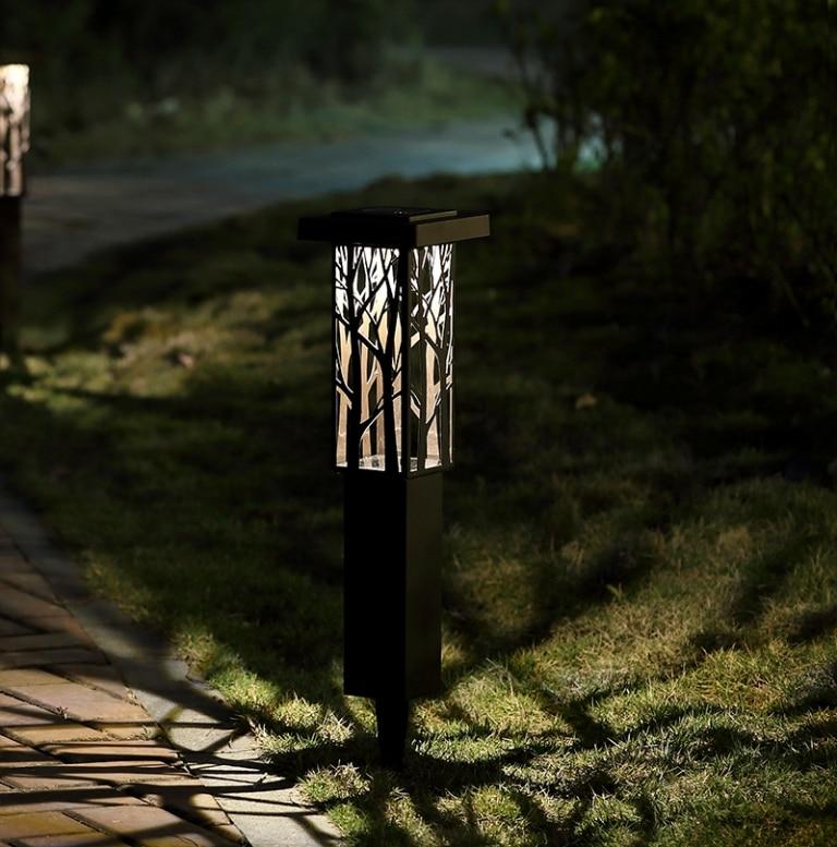 Stainless Steel Solar panel LED Spike Light Hollow Engraving Landscape Garden Path Lawn Solar Lamps Outdoor Grounding Sun Light