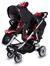Minnie mouse  light twin stroller baby stroller double front and rear folding stroller can be used separate baby carriage