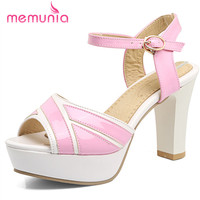 MEMUNIA 2017 High Heels Sandals Women Fashion Mixed Colors Buckle Thick Heels Summer Shoes Elegant Sweet