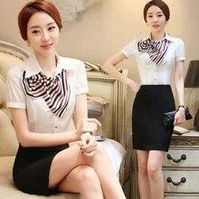 Business dress suit two-piece white shirt short-sleeved women's summer suit bank work shirt women's shirt