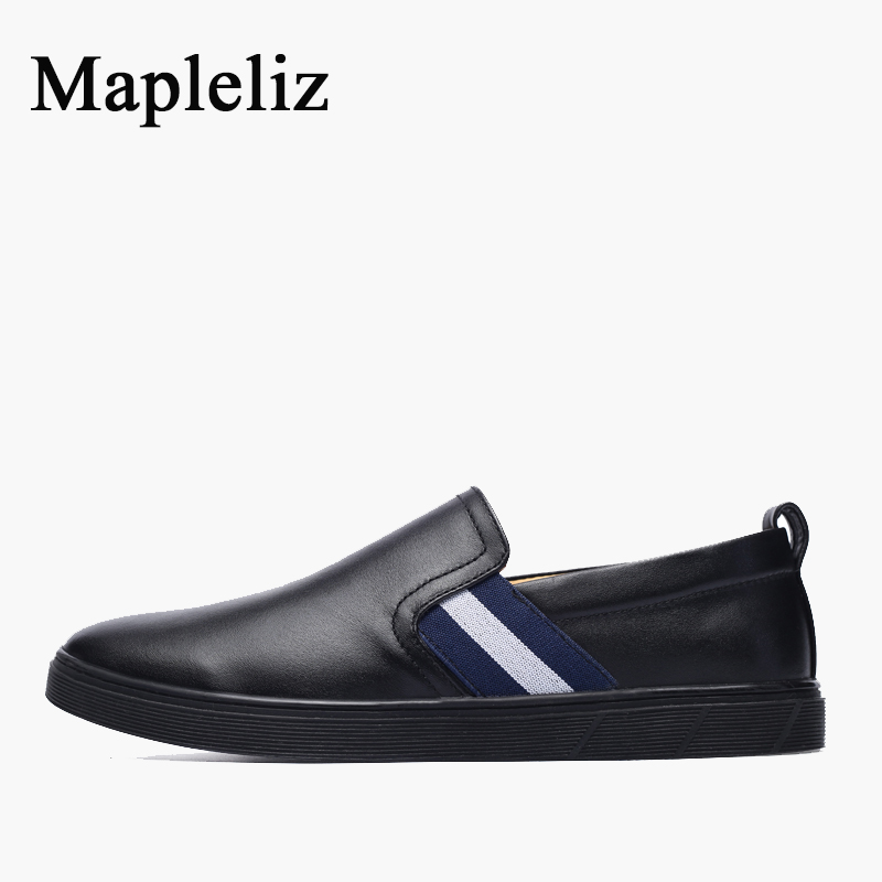 Mapleliz Brand Casual Men Shoes Handmade Genuine Cow Leather Leisure Male Loafers Soft Slip-on Driving Shoes for Men dxkzmcm new men flats cow genuine leather slip on casual shoes men loafers moccasins sapatos men oxfords
