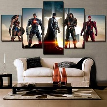 Modern Artwork Custom Home Decorative 5 Panel Justice League Superhero Poster Wall Art High Quality Canvas Printed Painting