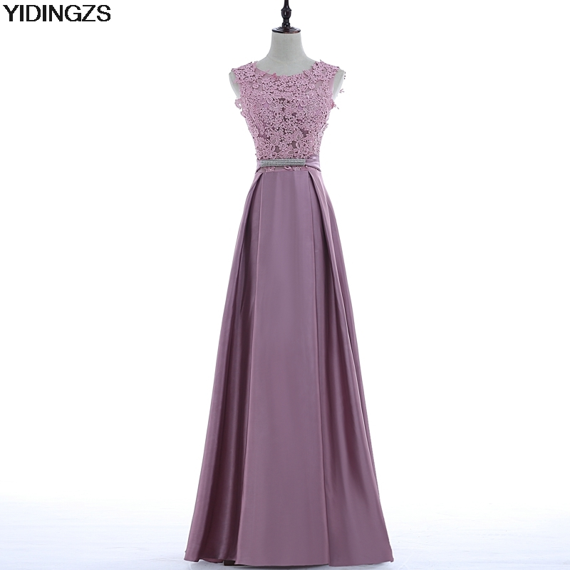 YIDINGZS Elegant V-neck Back Sleeveless Long Evening Dress Appliques Party Dress