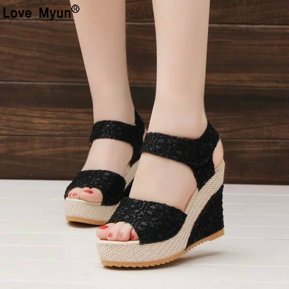 Women Sandals Summer New Open Toe Fish Head Fashion platform High Heels Wedge Sandals female shoes women shoes in the summer of 2016 the new wedge heels with fish in square mouth denim fashion sexy female cool shoes nightclubs