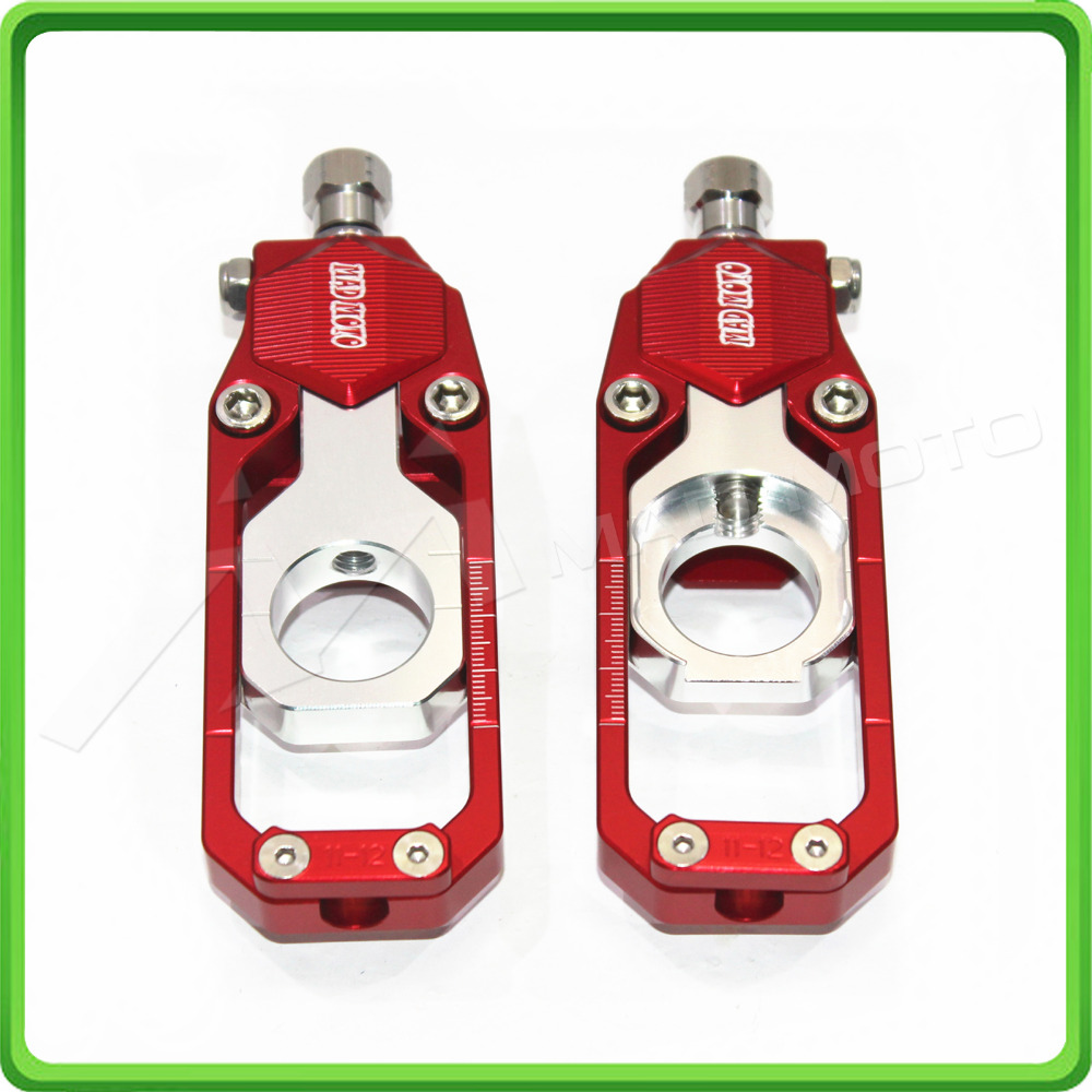 Motorcycle Chain Tensioner Adjuster fit for KAWASAKI Ninja ZX6R ZX-6R 2005 2006 2007 2008 2009 2010 2011 2012 Red & Silver waase chain adjusters tensioners catena for kawasaki ninja zx 6r 2005 2006 2007 2008 2009 2010 2011 2012 2013 2014 2015 2016