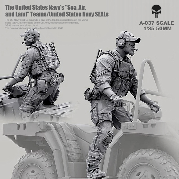 1/35 Resin Kits Modern American Navy Seal Commando Resin Soldier Driver Self-assembled A-037