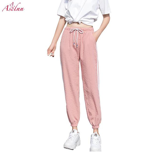 Aselnn Women Casual Thin Elastic Cuff Pants Harajuku Loose Drawstring Straight Trousers Female Plus Size Side Striped Pink Pants