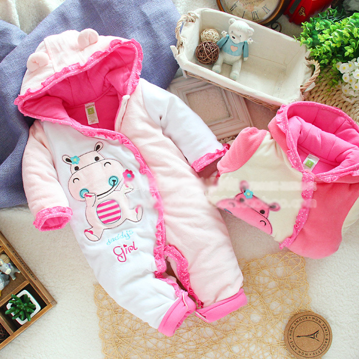 2014 baby girl romper for autumn winter , infant baby pink cow cartoon jumpsuit fleece cotton padded  newborn romper new 2014 autumn winter baby