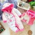 2014 menina romper do bebê para o outono inverno, infantil rosa vaca dos desenhos animados do bebê macacão de lã de algodão acolchoado bebê recém-nascido romper