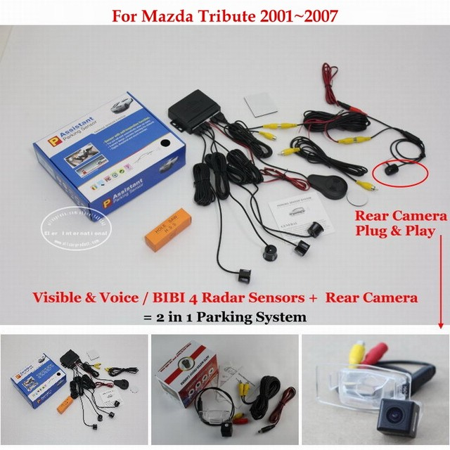 For Mazda Tribute 2001~2007 - Car Parking Sensors + Rear View Back Up Camera = 2 in 1 Visual Alarm Parking System