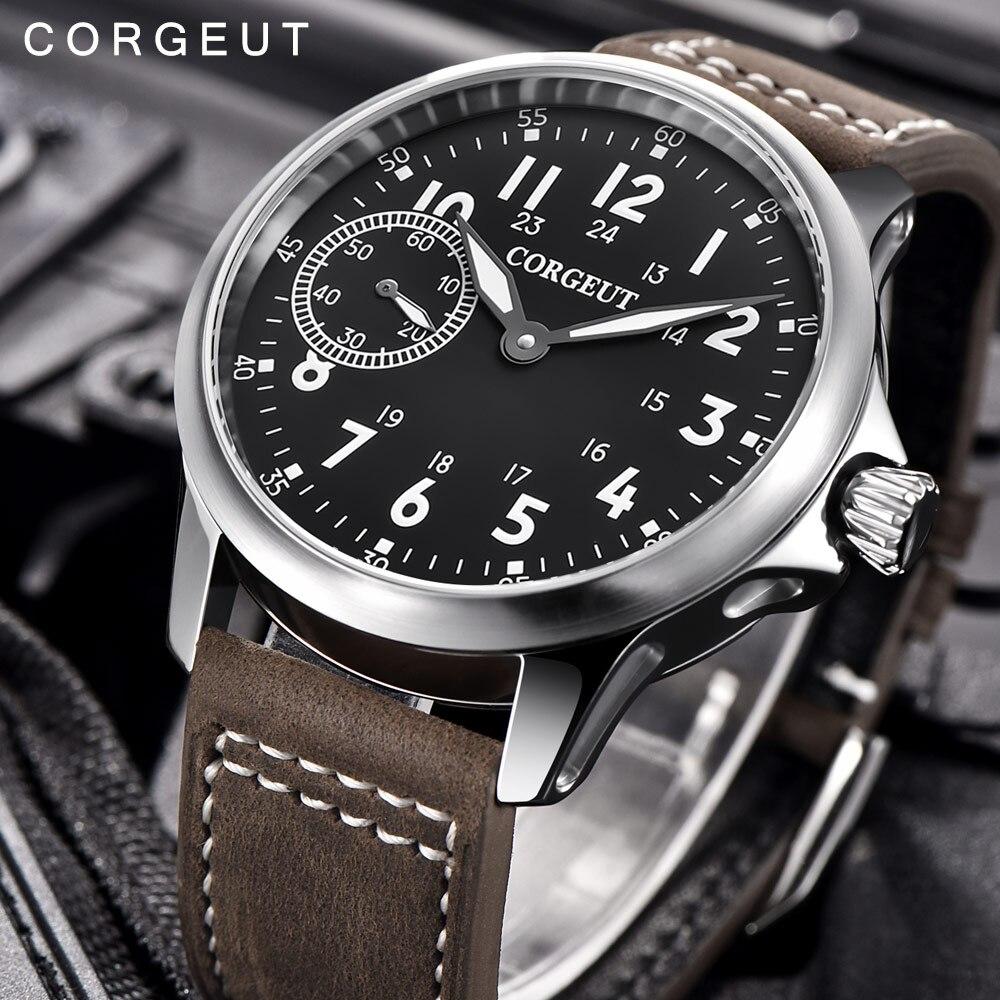 Saatler'ten Mekanik Saatler'de Corgeut erkekler erkek askeri ordu spor saati klasik lüks 17 Jewels martı 6497 mekanik el sarma aydınlık kol saati'da  Grup 1