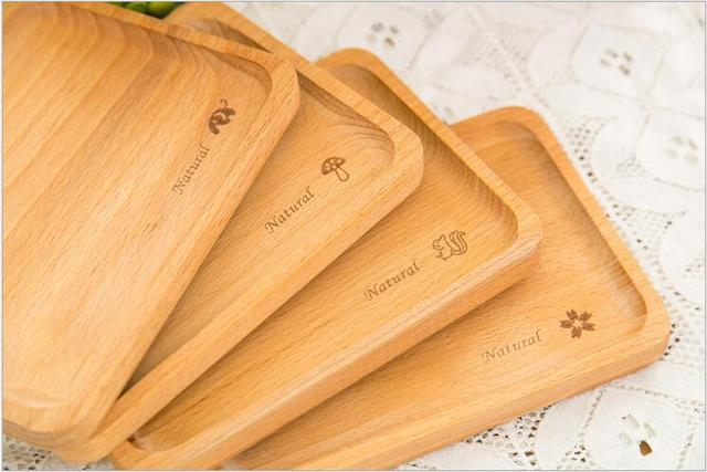 Birch Wood Serving Tray Decorative Trays Platters For Tea Coffee Wine Premium